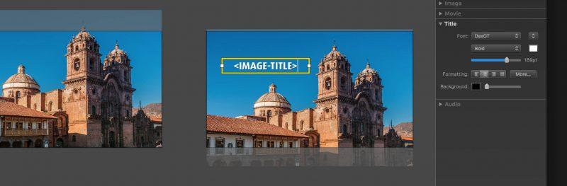 Screenshot FotoMagico Title editing